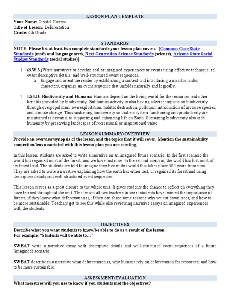 Lesson Plan Template Forests Biodiversity
