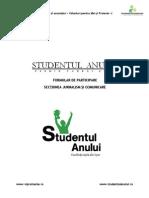 Formular de Aplicare Studentul Anului - Jurnalism Si Comunicare