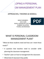 Developing a Personal Classroom Management Plan