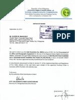 Notice of Awards
