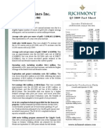 Richmont Mines Q3 2009 Fact Sheet