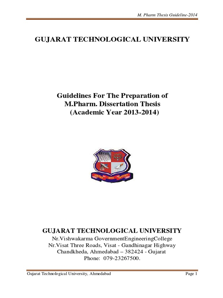 gtu guidelines for m.pharm thesis 2015