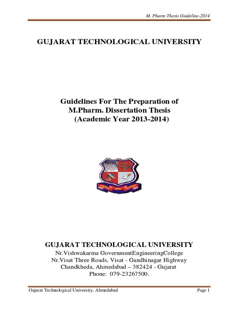 gtu guidelines for m.pharm thesis 2015