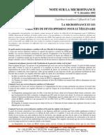 CGAP Donor Brief Microfinance and the Millennium Development Goals Dec 2002 French