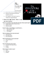 Comprehension Test the Phantom of the Opera House