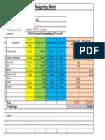 Sourdough Budgeting Sheet