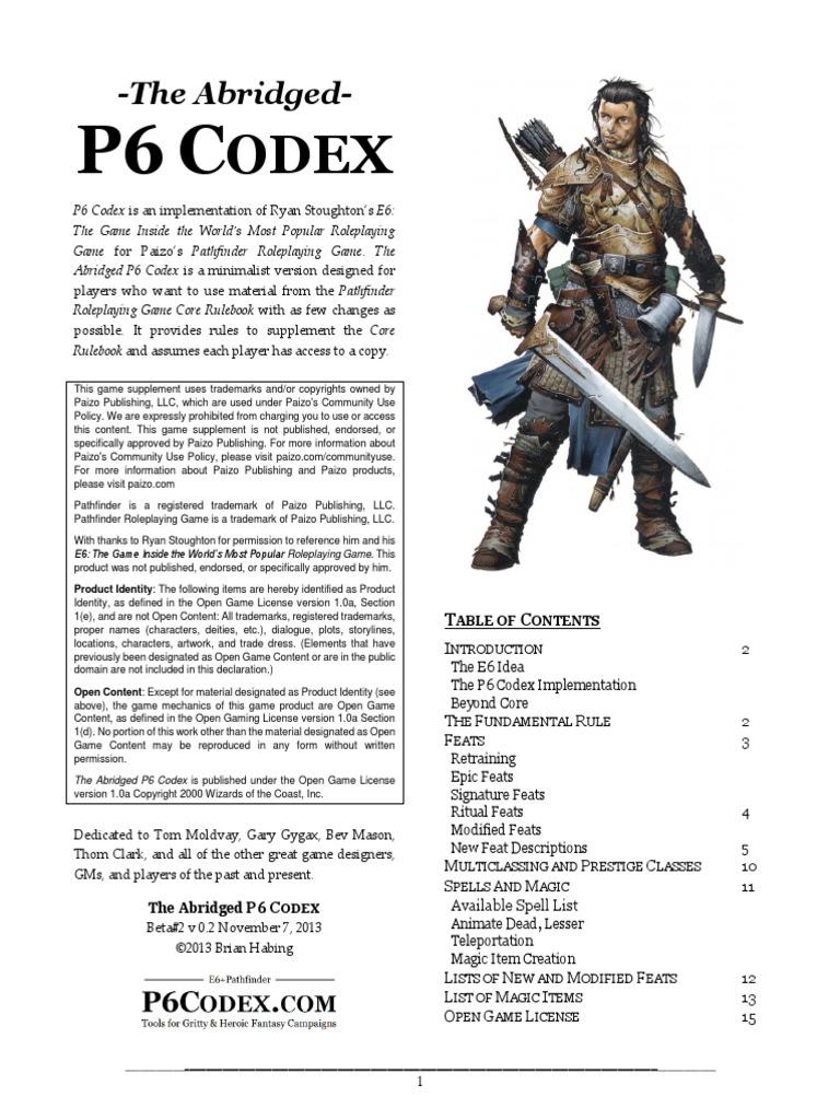 AbridgedP6CodexV0p2 | Fantasy Games | Gaming
