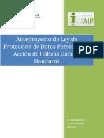 Anteproyecto de Ley de Proteccion de Datos Personales y Accion de Habeas Data de Honduras Final 21 01 14