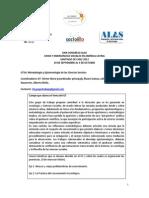 Grupo de Trabajo 16 - Metodología y Epistemología de las Ciencias Sociales