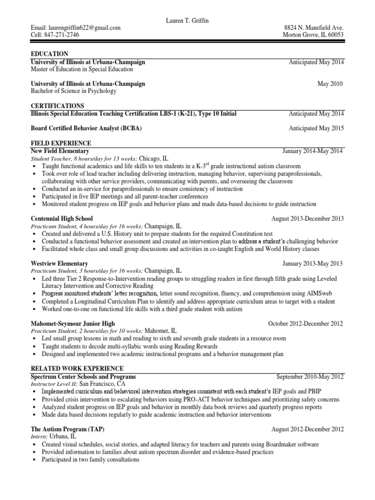Lauren Griffin Resume | Special Education | Individualized Education ...