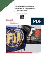 La FIA Anuncia Oficialmente Los Cambios en El Reglamento Para El 2014