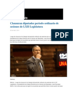 30-04-2014 Grupo Fórmula - Clausuran diputados periodo ordinario de sesiones de LXII Legislatura.