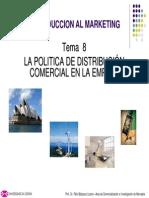 Tema 8 La Politica de Distribucion Comercial en La Empresa