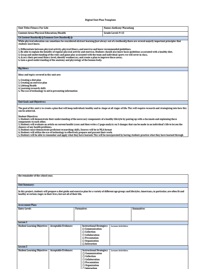 Digital Unit Plan Template 1 Physical Fitness Physical Education