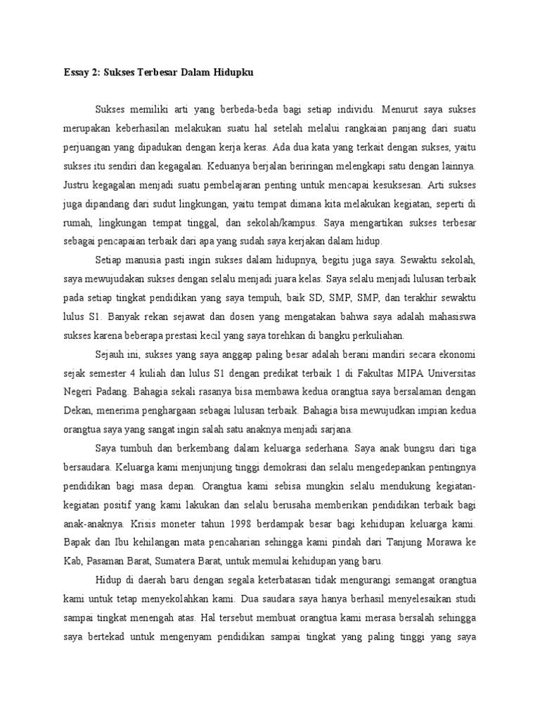 contoh essay sukses terbesar dalam hidupku lpdp