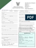 Formulario de peticion de visado para Tailandia