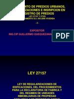 Curso Saneamiento 2 Ley 27157 Cip 2010
