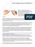 Ampliando detalles sobre la diabetes Tips para sobrellevar la diabetes