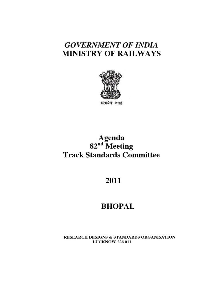 Agenda for 82nd Meeting of TSC Final | Track (Rail Transport) | Rail ...