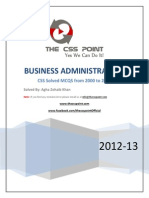 Business Administration Solved MCQs 2000 to 2011
