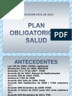 Plan Obligatorio de Salud Resolucion 5521 de 2013