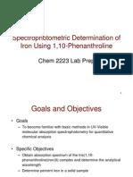 Spectrophotometric Determination of Iron Using 1,10-Phenanthroline