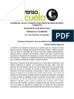 Memorias del taller La prensa como fuente de saber histórico y didáctico