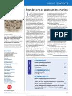 Nature Physics Insight. Foundations of Quantum Mechanics. April 2014 Volume 10. No 4