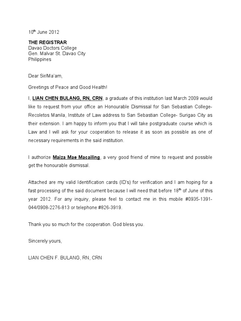Honorable dismissal letter yelopaper Gallery