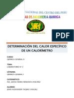 Determinación Del Calor Especifico de Un Calorímetro
