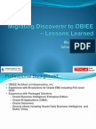 Migrating Discoverer to Obie e Lessons Learned