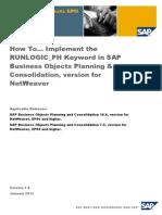 How to Implement RUNLOGIC_PH Keyword in SAP BPC Version for NetWeaver