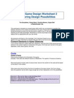 game development worksheet