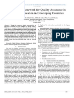 A Suitable Framework for Quality Assurance in Distance Education in Developing Countries