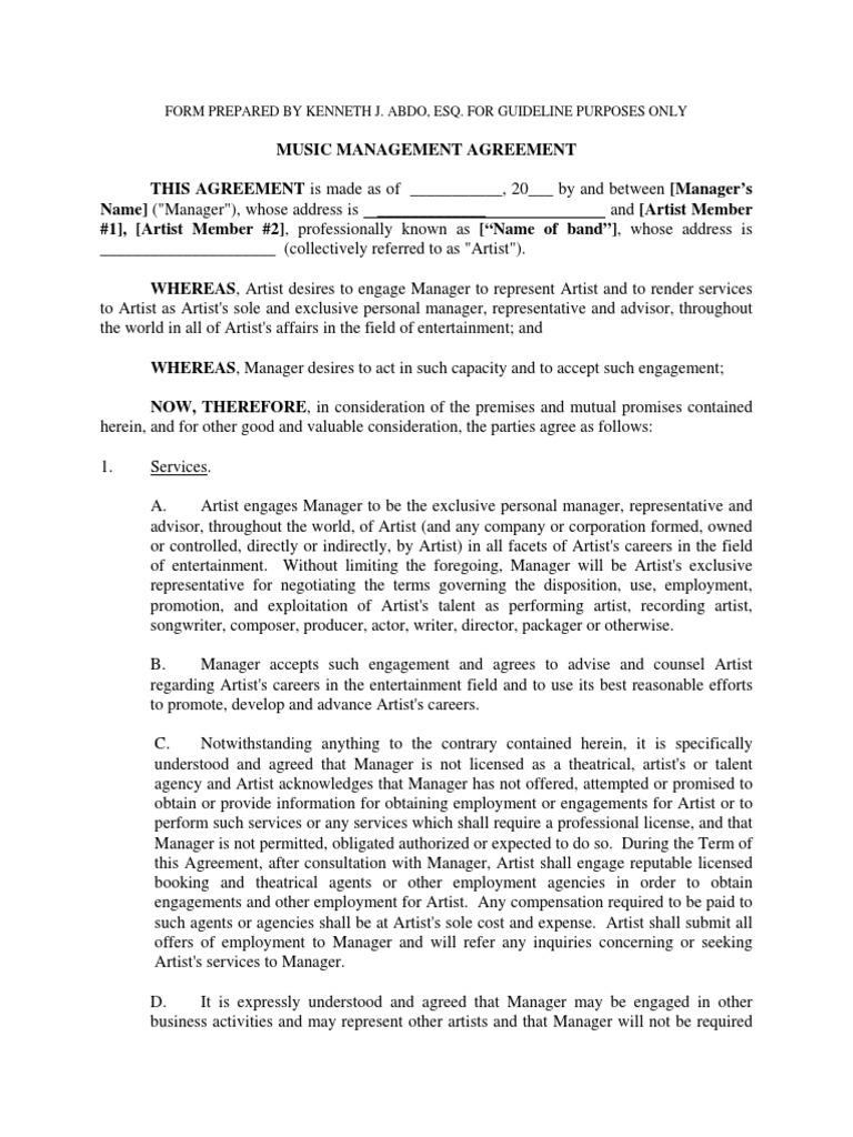 Artist Management Agreement | Indemnity | Tax Deduction