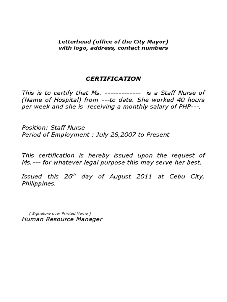Certification Of Employment Sample Sample Certificate Of Employment
