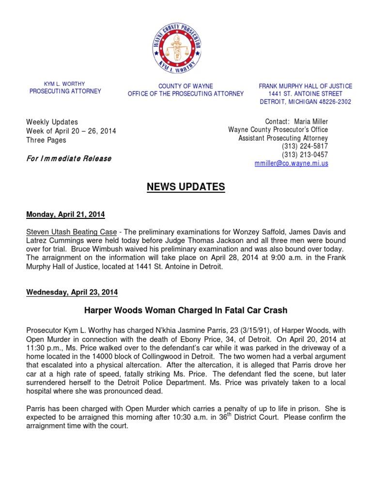 Michigan wayne county harper woods - Wayne County Prosecutor News Updates April 20 April 26 2014 Arraignment Prosecutor