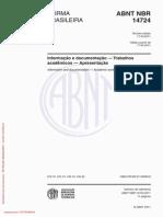 ABNT NBR 14724 2011 - Informação e Documentação - Trabalhos Acadêmicos