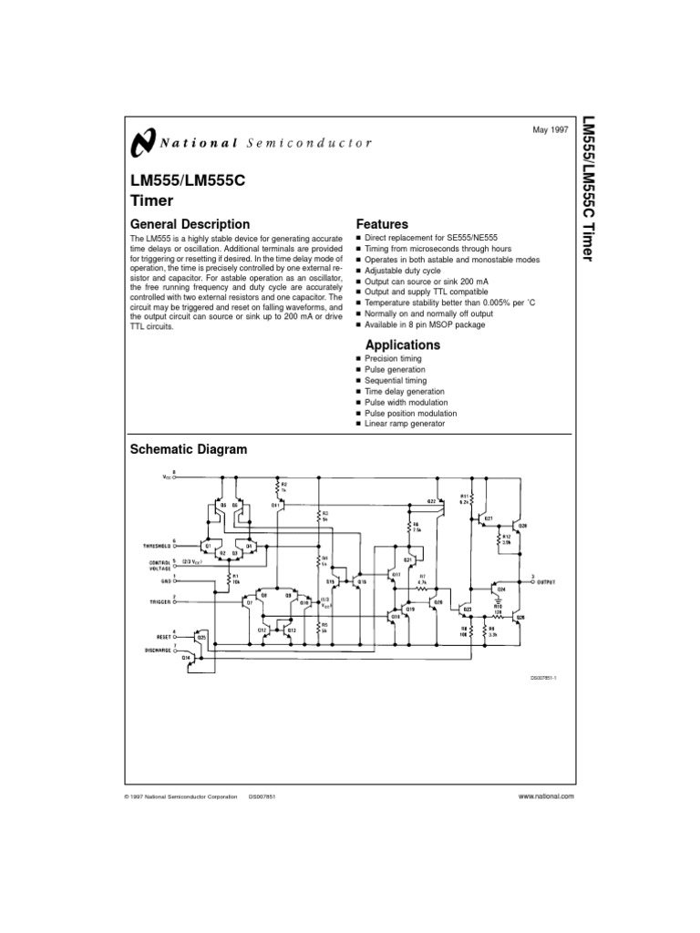 Lm555 Lm555c Timer Computer Engineering Electrical Circuits Circuit Description Sequential Using Ne555