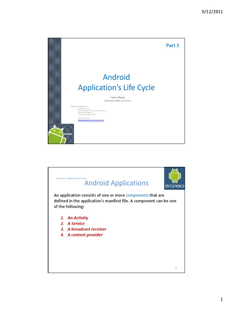 Android Chapter03 Life Cycle | Android (Operating System