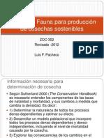 Manejo de Fauna Para Produccion de Cosechas Sostenibles 2012