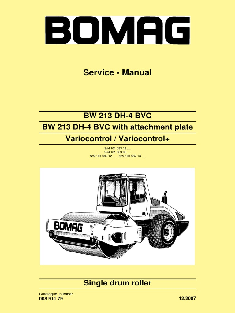 bw213dh 4 bvc service manual e 00891179 l07 pdf electrical rh scribd com BOMAG 211 Roller Schematics BOMAG Rollers Parts Manuals