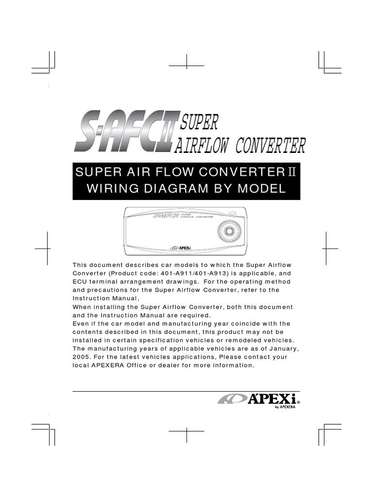 Apexi Installtion Instruction Manual Safc 2 Super Air Flow