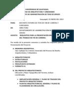 Requisitos Para La Presentación Del Proyecto de Tesis