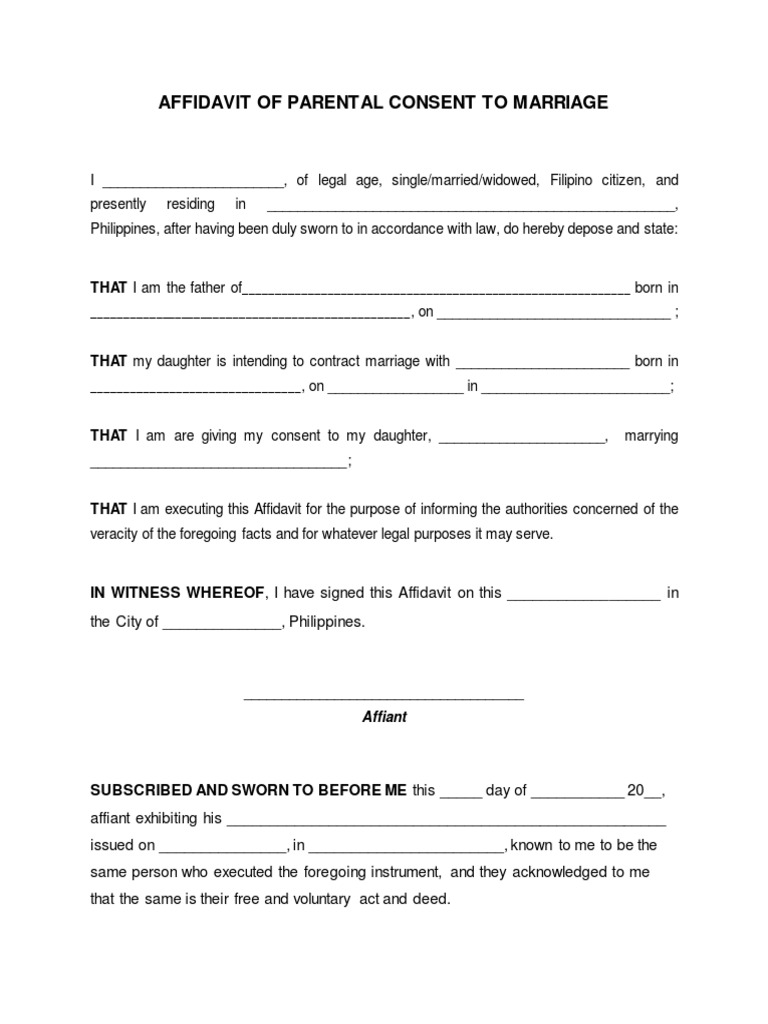 Blank affidavit of parental consent to marriage thecheapjerseys Choice Image