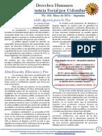 Boletin DDHH No. 10. Tejiendo Justicia Social Por Colombia - Mayo 01 de 2014