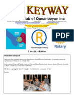 The Keyway - Weekly newsletter for the Rotary Club of Queanbeyan - 7 May 2014 edition