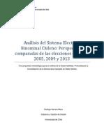 Ensayo - Análisis Del Sistema Electoral Binominal Chileno Perspectivas Comparadas de Las Elecciones de 2001, 2005, 2009 y 2013