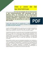 Aplicaciones y Usos de Las Tecnologías Biométricas