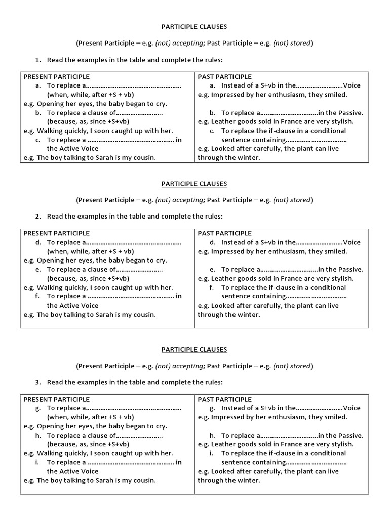 Participle Clauses Worksheet Languages Morphology
